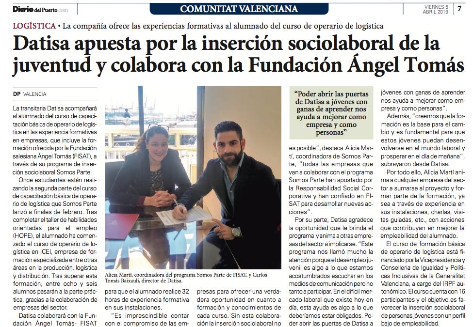 DATISA apuesta por la inserción sociolaboral de la juventud colaborando con Somos Parte